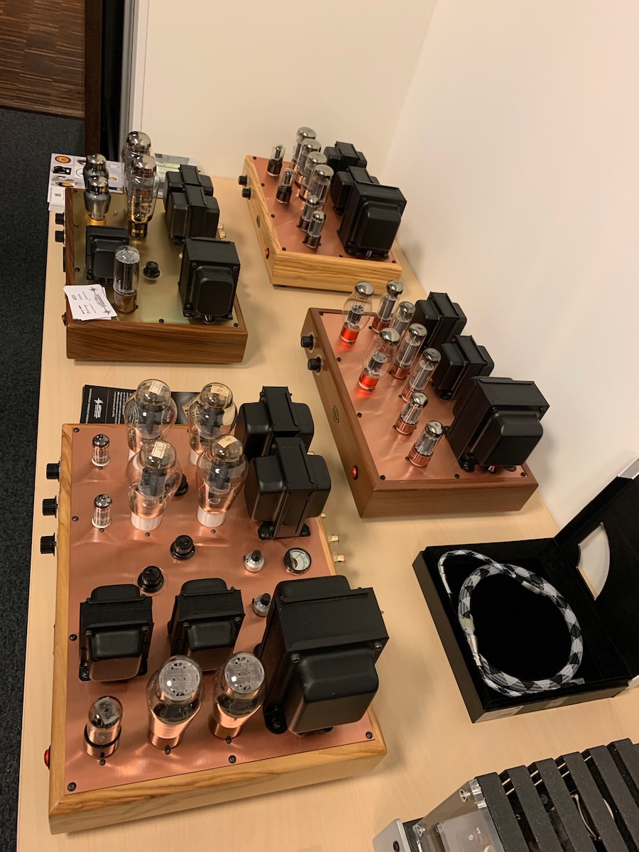 Large display of Tetkron Copper top plate amplifiers