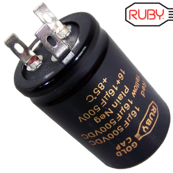 Ruby Gold Cap 16uF + 16uF 500Vdc Electrolytic Capacitor