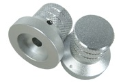 Silver knob, cross pattern, 31mm dia.