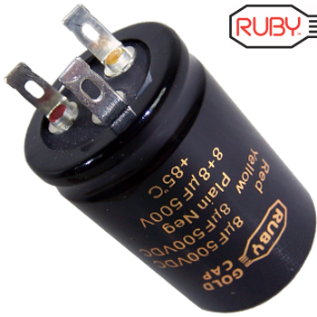 Ruby Gold Cap 8uF + 8uF 500Vdc Electrolytic Capacitor