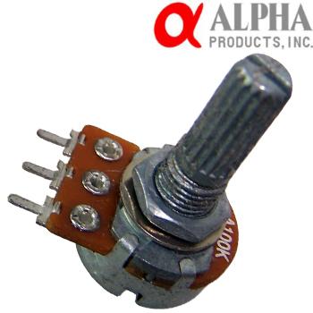 Alpha 10KA mono potentiometer, 16mm Long Split Shaft