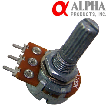 Alpha 1MA mono potentiometer, 16mm Long Split Shaft