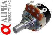 Alpha 24mm solid Shaft Potentiometer with Switch