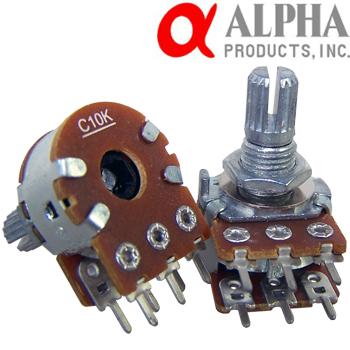 alpha 10kc stereo potentiometer 16mm short split shaft hifi rh hificollective co uk Stereo Balance Potentiometer Stereo Potentiometer Pinout