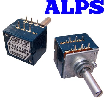 "ALPSBLU-01: Alps ""Blue Beauty"" 10K dual log potentiometer"