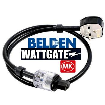 belden wire, wattage IEC, UK Toughplug mains lead (1m)