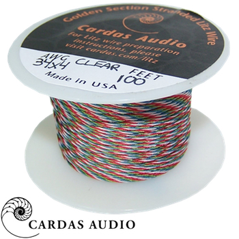 4 x 34 AWG Cardas Clear Tonearm Wire - BLUE / RED / GREEN / WHITE, 50cm