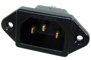 Gold plated, black bodied, IEC inlet mains socket
