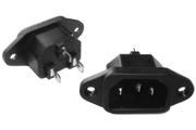 IEC Mains Inlet Socket, Chassis Mount, Screw fit, non-fuse