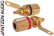 012-0160 Jantzen Binding Post M4 / 8mm Pair, Gold plated, red / black