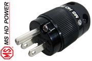 MS HD Power MS515Rh US mains plug, Rhodium plated