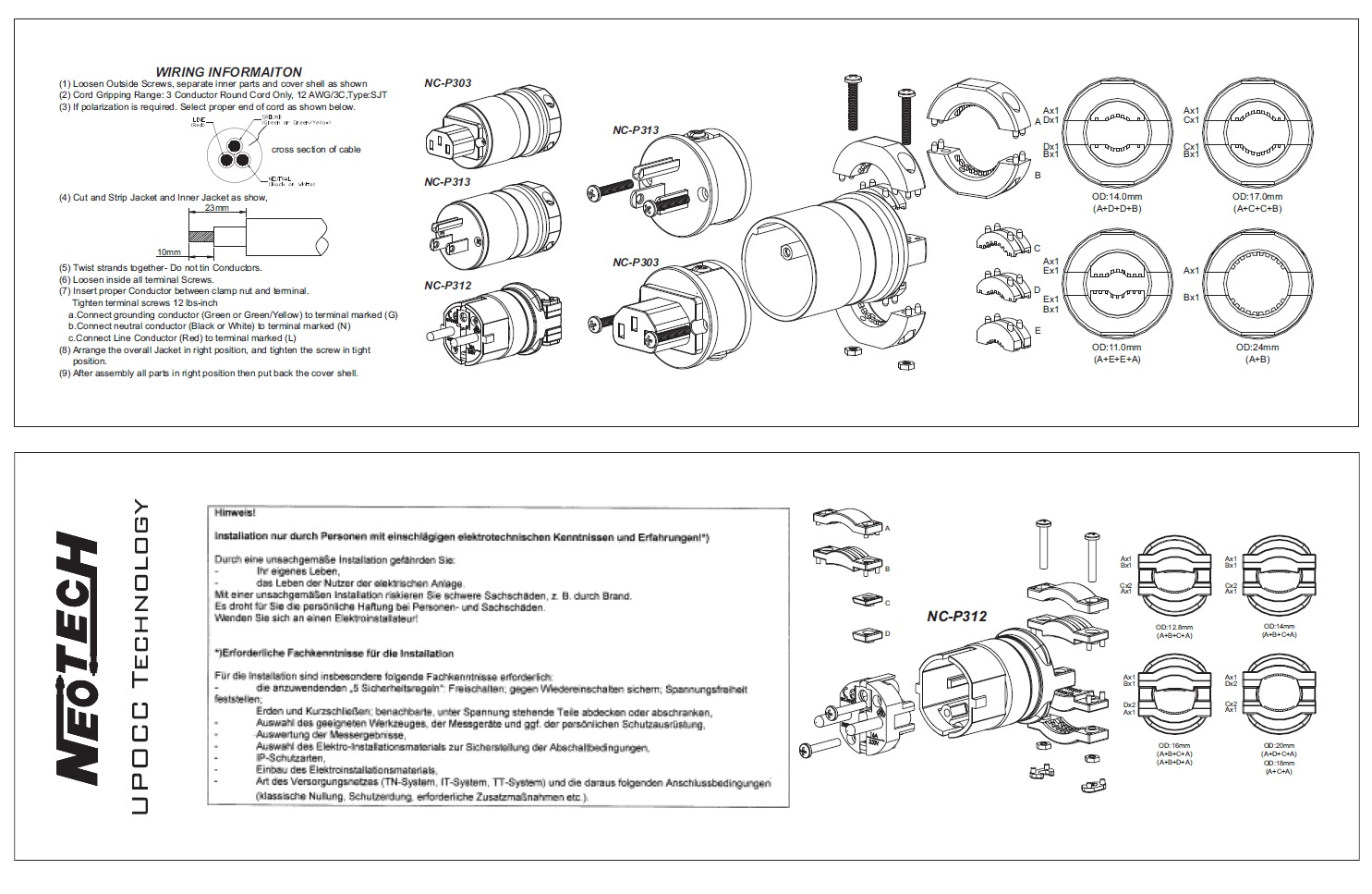 Neotech Nc P313 Up Occ Copper Usa Ac Plug Gold Plated Hifi Receptacle Wiring Technical Drawing