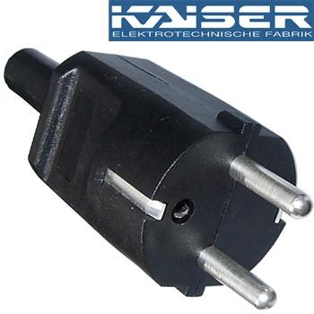 Kaiser Schuko (EU) Mains Plug, silver plate