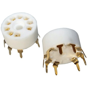 SK9CP18-G - ceramic PCB mount B9A base, gold plated (pk of 2)