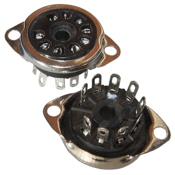 SK9PBC18: Black plastic bodied chassis mount B9A base (pk of 2)