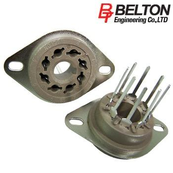 VT8-PT: Belton Octal chassis mount valve base, with extended PCB pins