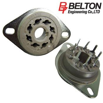 VT8-PTS: Belton Octal chassis mount valve base, with PCB pins