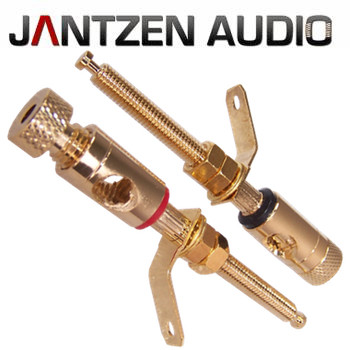 012-0170 Jantzen Binding Post M5 / 38mm Pair, Gold plated, red / black