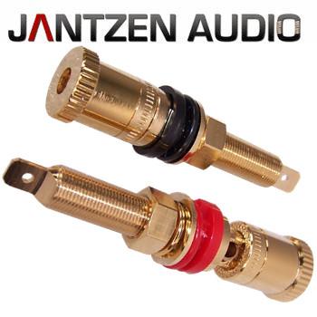 012-0210 Jantzen Binding Post M9 / 26mm Pair, Gold plated, red / black