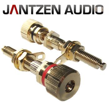 012-0180 Jantzen Binding post, M6 / 27mm, Gold plated, red / black, a pair