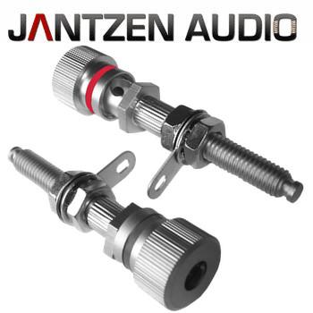 012-0190 Jantzen Binding post, M6 / 27mm, Satin Nickel plated, red / black, a pair