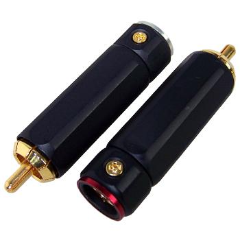 Black body Gold plated RCA Plugs (pair)