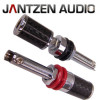 012-0199 Jantzen Binding Post M8 / 27mm, Nickel plated, Carbon jacket, red / black, a pair