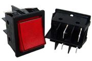 DPST Rocker Switch, Wide Bodied, Red Illuminating