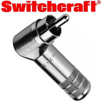 Switchcraft silver phono plug (right angled)