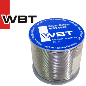 WBT-0820 4% silver solder, 0.8mm diameter, 250g reel